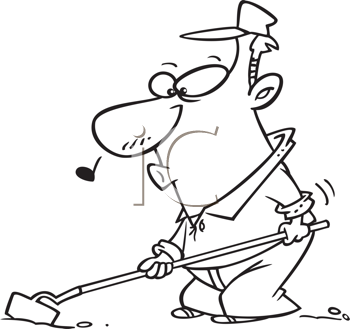 Royalty Free Clipart Image of a Man Hoeing