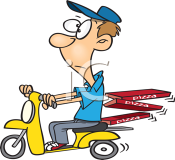 Royalty Free Clipart Image of a Guy Delivering Pizza on a Scooter