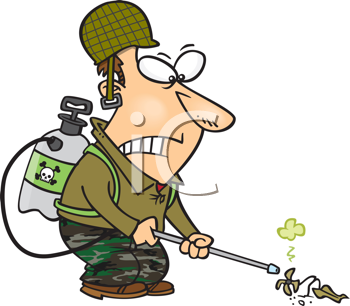 Royalty Free Clipart Image of a Man Spraying Weeds