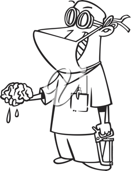 Royalty Free Clipart Image of a Doctor Holding a Brain