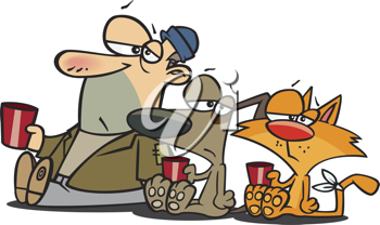 Royalty Free Clipart Image of a Man and His Pets Begging