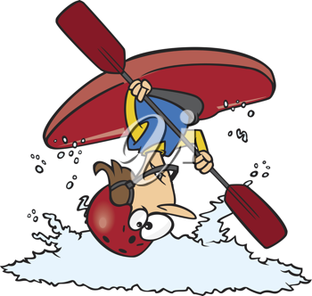 Royalty Free Clipart Image of a Flipped Kayaker