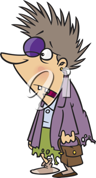 Royalty Free Clipart Image of a Shopping Survivor