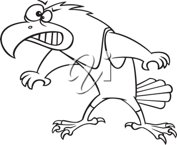 Royalty Free Clipart Image of a Hawk Wrestler