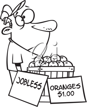Royalty Free Clipart Image of an Unemployed Man Selling Oranges