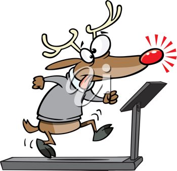 Royalty Free Clipart Image of a Reindeer on a Treadmill