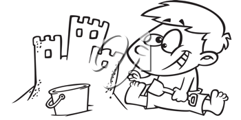 Royalty Free Clipart Image of a Boy Building a Sand Castle