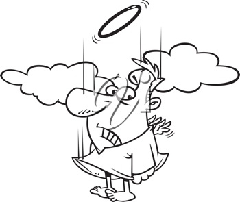 Royalty Free Clipart Image of an Angel Falling