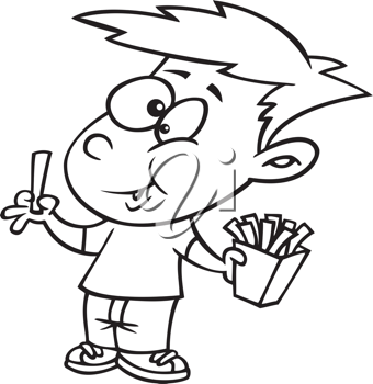 Royalty Free Clipart Image of a Boy Eating French Fries