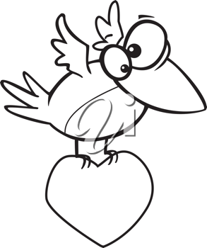 Royalty Free Clipart Image of a Bird Carrying a Heart