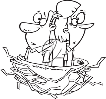 Royalty Free Clipart Image of Two Older People in a Nest