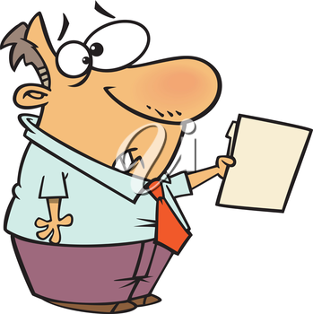 Royalty Free Clipart Image of a Man Handing in a File