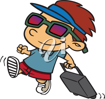 Royalty Free Clipart Image of a Kid Traveling