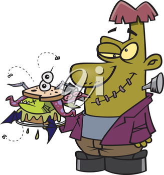 Royalty Free Clipart Image of a Monster With a Sandwich