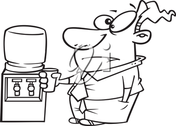 Royalty Free Clipart Image of a Man at the Watercooler