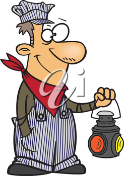 Royalty Free Clipart Image of a Train Engineer