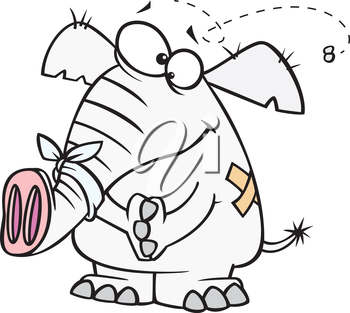 Royalty Free Clipart Image of an Elephant and a Fly