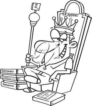 Royalty Free Clipart Image of a Man in a Crown on a Throne With the Word Scrabble