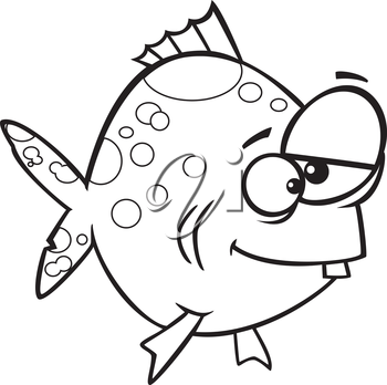 Royalty Free Clipart Image of a Funny Looking Fish