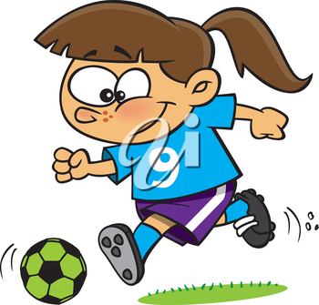 Royalty Free Clipart Image of a Girl Playing Soccer