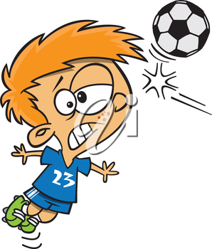 Royalty Free Clipart Image of a Boy Getting Hit with a Soccer Ball in the Head