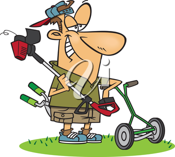 Royalty Free Clipart Image of a Man With Garden Tools