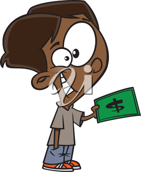Royalty Free Clipart Image of a Boy With a Bill in His Hand
