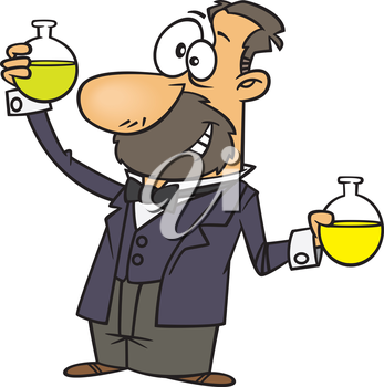 Royalty Free Clipart Image of a Man Holding Beakers