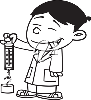 Royalty Free Clipart Image of a Boy in a Lab Coat Holding a Spring Scale