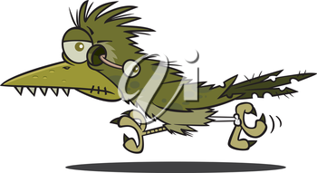 Royalty Free Clipart Image of a Roadrunner Zombie