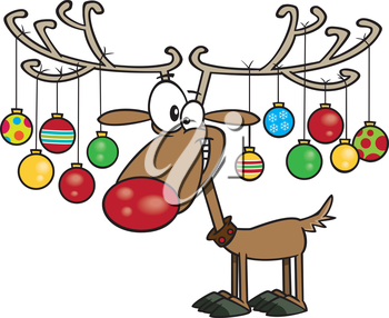 Royalty Free Clipart Image of a Reindeer Decorated For Christmas