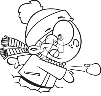 Royalty Free Clipart Image of a Boy Throwing a Snowball