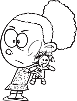 Royalty Free Clipart Image of a Selfish Girl