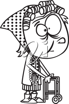 Royalty Free Clipart Image of a Senior with a Walker