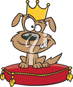 Royalty Free Clipart Image of a Pampered Dog