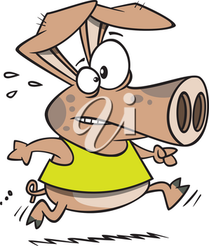 Royalty Free Clipart Image of a Running Pig