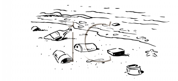 Royalty Free Clipart Image of Trash on a Beach