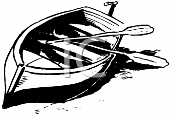 Royalty Free Clipart Image of a Boat and Oars