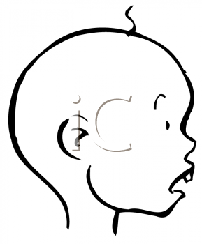 Royalty Free Clipart of a Boy with a Curl and a Tooth