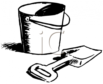 Royalty Free Clipart Image of a Bucket and Shovel