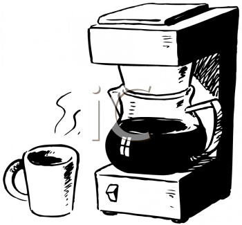 Royalty Free Clipart Image of a Coffeemaker and Cup