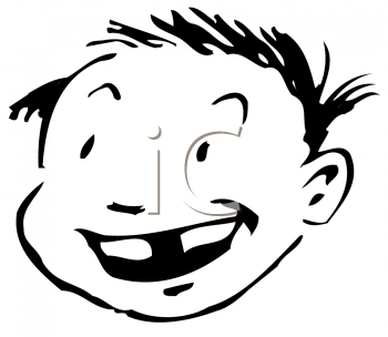 Royalty Free Clipart Image of a Smiling Boy With a Missing Tooth