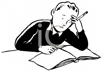 Royalty Free Clipart Image of a Boy Doing Homework