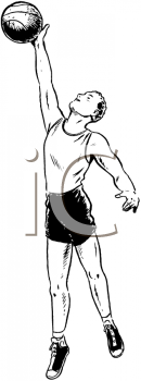 Royalty Free Clipart Image of a Basketball Player Doing a Layup