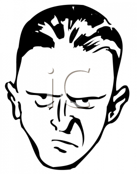 Royalty Free Clipart Image of an Angry Man