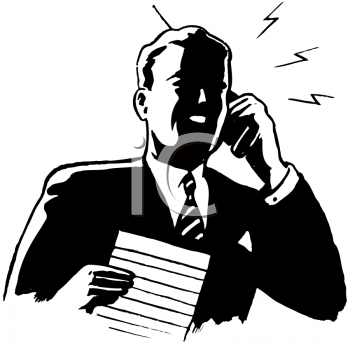 Royalty Free Clipart Image of a Man on a Cell Phone