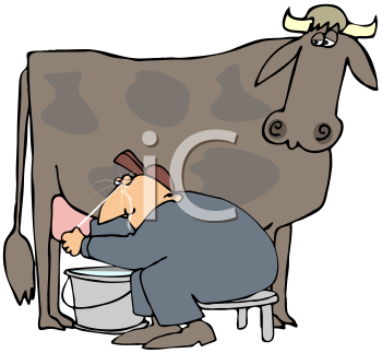 Royalty Free Clipart Image of a Man Milking a Cow