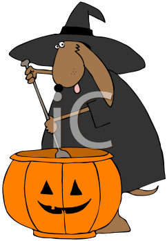 Royalty Free Clipart Image of a Witch Dog Stirring a Pumpkin Cauldron