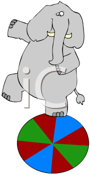 Royalty Free Clipart Image of an Elephant Standing on a Ball