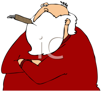 Royalty Free Clipart Image of Santa Smoking a Cigar With His Arms Crossed